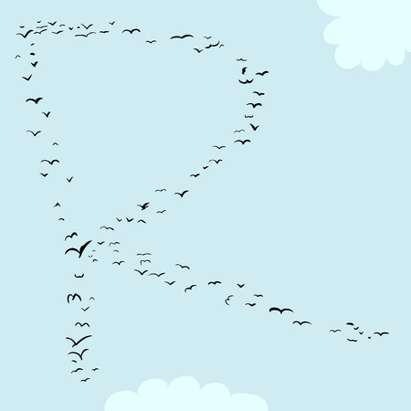Illustration of a flock of birds in the shape of the letter r