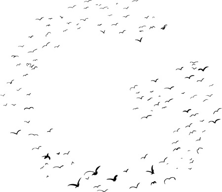 flock: Illustration of a flock of birds in the shape of the letter g