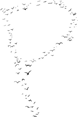 mid air: Illustration of a flock of birds in the shape of the letter p Illustration