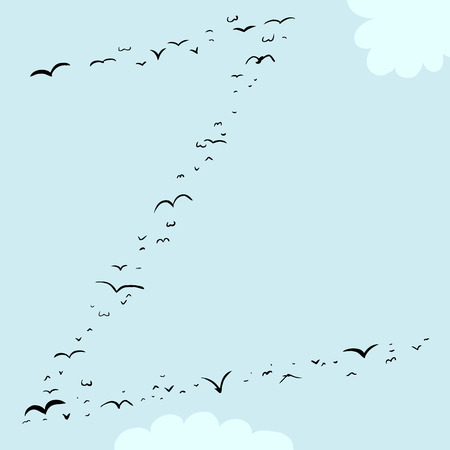 mid air: Illustration of a flock of birds in the shape of the letter z