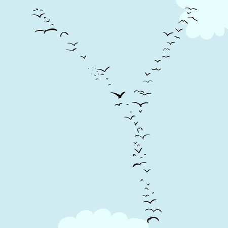 편지 Y의 모양에 조류의 무리의 그림