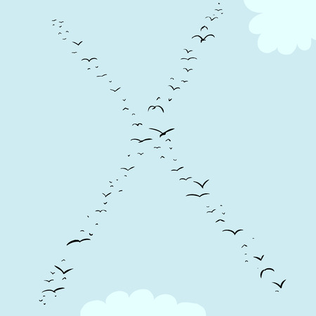 midair: Illustration of a flock of birds in the shape of the letter x Illustration