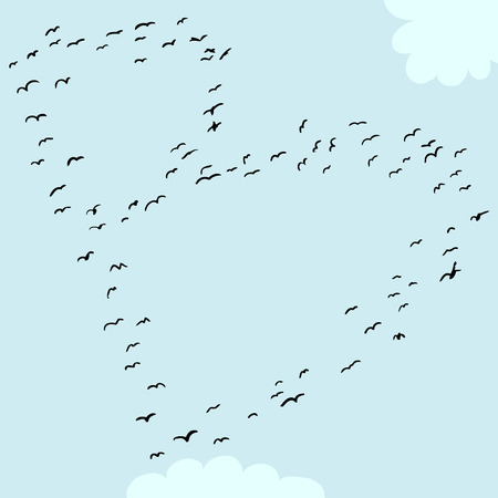 Illustration of a flock of birds in the shape of the letter b