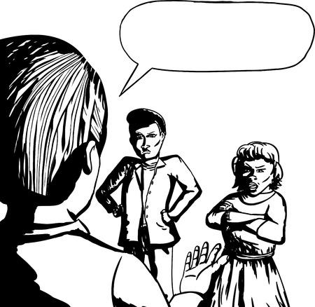 personas discutiendo: Esquema de tres personas discutiendo sobre fondo blanco