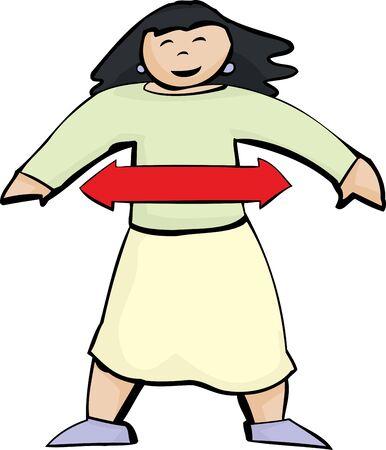 hopeful: Cartoon diagram of balanced Asian woman over white background