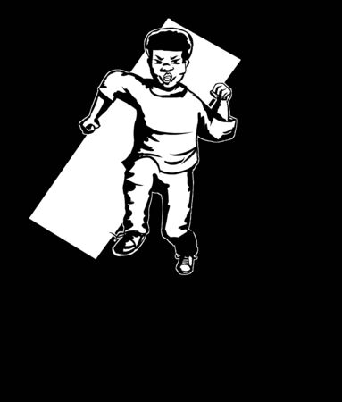 hispanic boys: Outline illustration of determined Black youth running Illustration