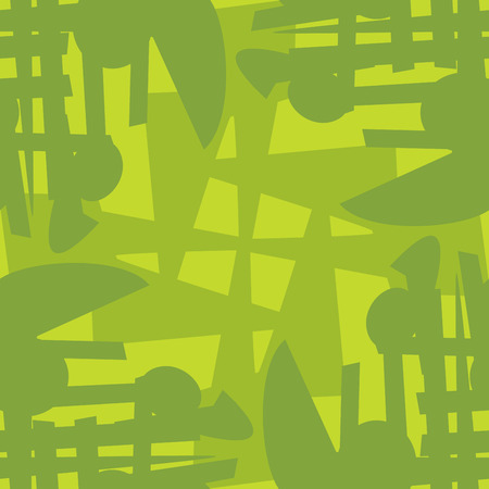 chaotic: Seamless green pattern of chaotic lines and circles Illustration
