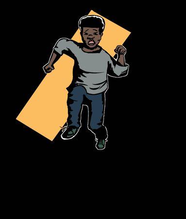 hispanic boy: Illustration of frightened boy running in darkness