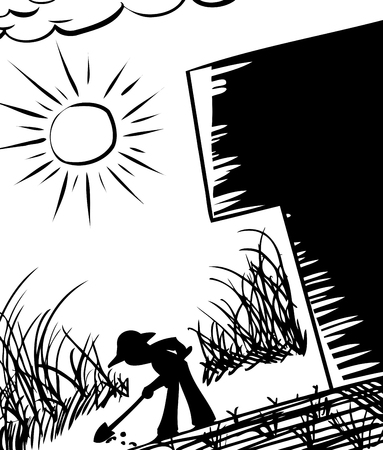 Silhouette of farmer digging in ground next to building Ilustrace