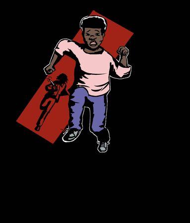 少年を追いかけてナイフで刑事のイラスト  イラスト・ベクター素材