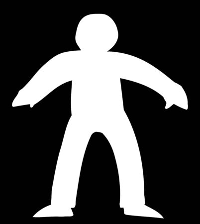 White human figure standing over black background
