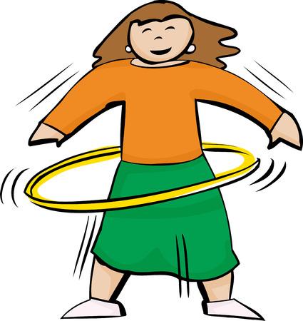 노란색 훌라 후프를 사용하여 적합하고 활동적인 여성