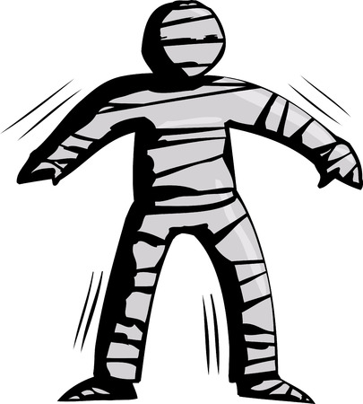 wobbly: Hand drawn cartoon of stiff mummy trying to walk