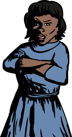 skeptical: Isolated cartoon of annoyed woman with folded arms