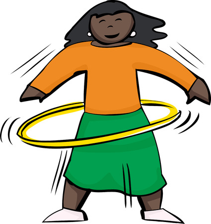 latina: Happy woman using a yellow hula hoop