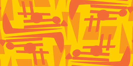 chaotic: Seamless background of chaotic orange lines and circles pattern Illustration