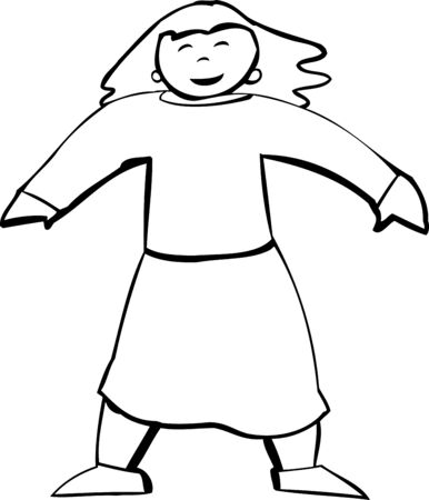 hopeful: Body of smiling female in skirt as outlined illustration