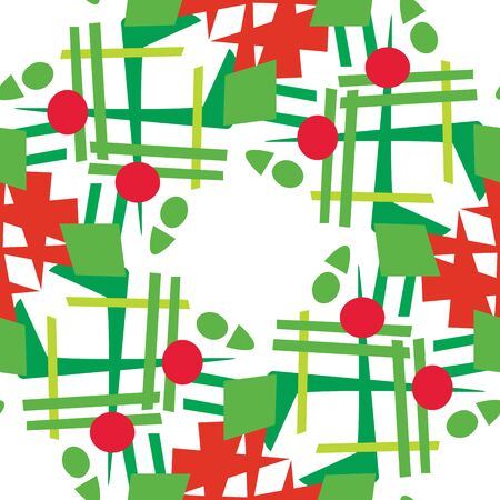 christmas wreaths: Background pattern of abstract Christmas wreaths over white