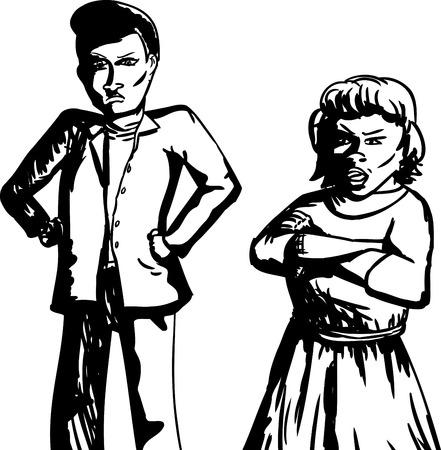comunicacion no verbal: Esquema de la pareja de adultos hispanos molestos