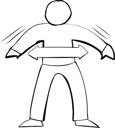 Single outline symbol of fit person over white