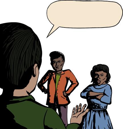 personas discutiendo: Historieta de tres personas discutiendo sobre fondo blanco Vectores