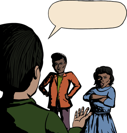 Cartoon of three people arguing over white background