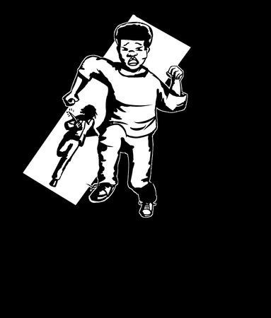 ナイフで黒の若者を追う男の図