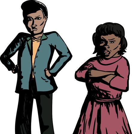 Cartoon of pair of annoyed Hispanic adults Illustration