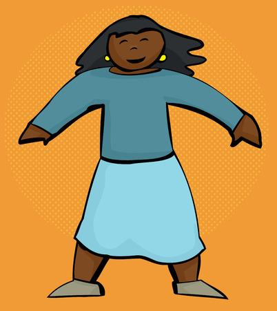 행복 한 인도 여자 만화 서 오렌지 배경 위에