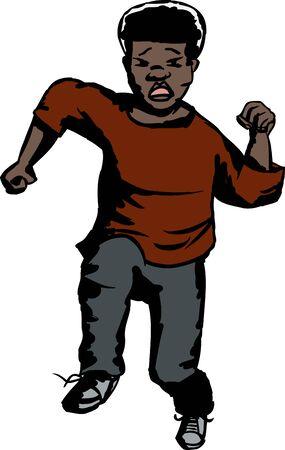 child running: Scared isolated Black child running over white background Illustration