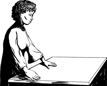 empty table: Outline illustration of a pretty woman working at an empty table