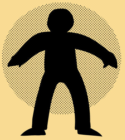 Backlit human figure over brown background with halftone circle