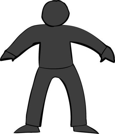 man standing alone: Single black human figure over white background Illustration