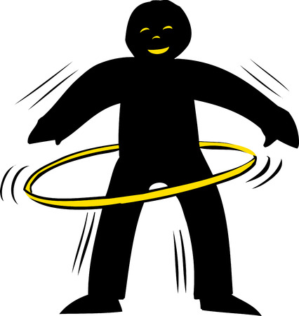 man standing alone: Backlit smiling person using yellow hula hoop over white Illustration