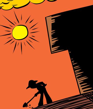 Gardener digging in ground under hot sun Ilustração