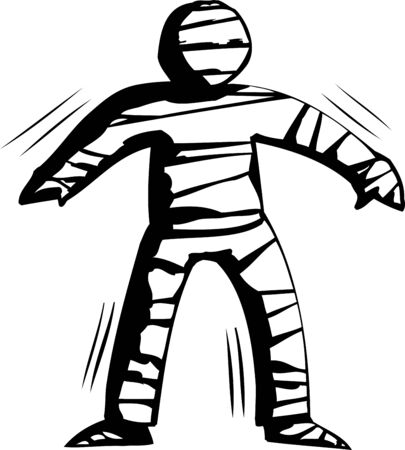 shaking out: Outline cartoon of stiff mummy trying to walk
