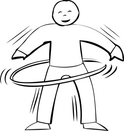 hula hoop: Outline symbol of active smiling man using a hula hoop
