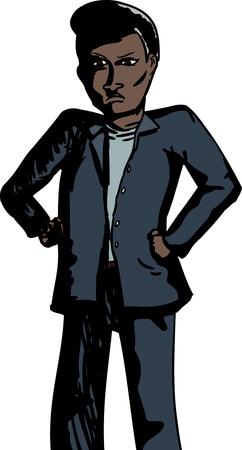 comunicacion no verbal: Caricatura de hombre enojado con las manos en las caderas