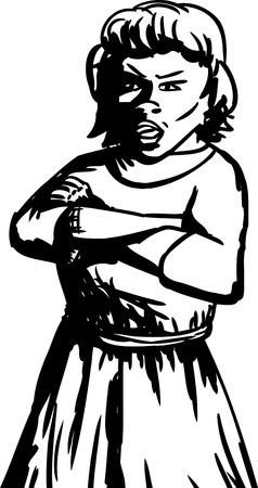 skeptical: Outline illustration of annoyed woman with folded arms Illustration