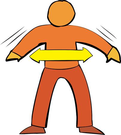 figura humana: Gen�rico figura humana en blanco con el s�mbolo de la flecha sobre blanco Vectores