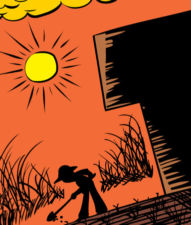 Silhouette of farmer digging in ground next to building Stock Illustratie