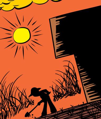 Silhouette of farmer digging in ground next to building Ilustração