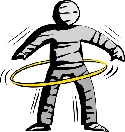 out of body: Isolated cartoon of stiff mummy hula hooping