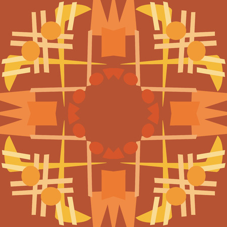 Symmetrical repeating tile background of brown lines and circles