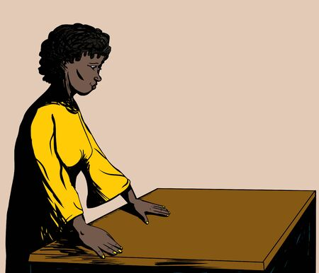 empty table: Illustration of a pretty woman working at an empty table Illustration