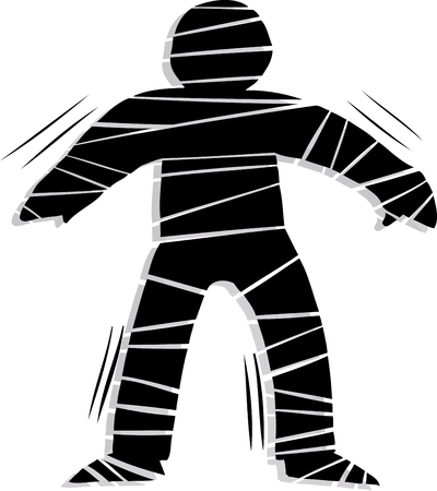 wobbly: Backlit stiff mummy trying to walk over white