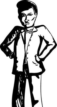 comunicacion no verbal: Historieta Esquema del hombre enojado con las manos en las caderas Vectores