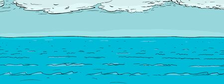 Background illustration of ocean water surface with clouds