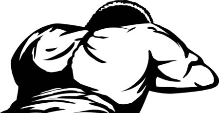 Outlined African man laying face down bare back