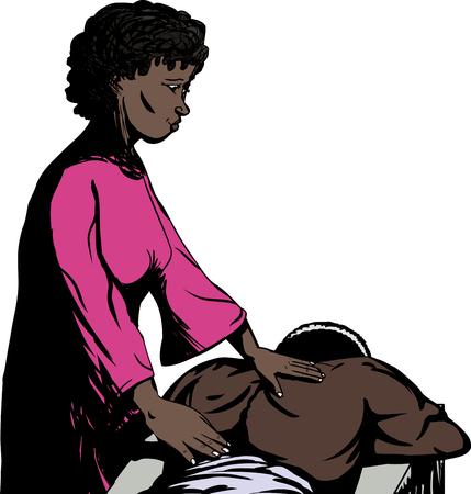 back rub: Massuer working on back of muscular man